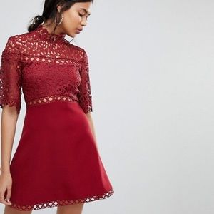 Keepsake The Label Uplifted Lace Mini Dress Red